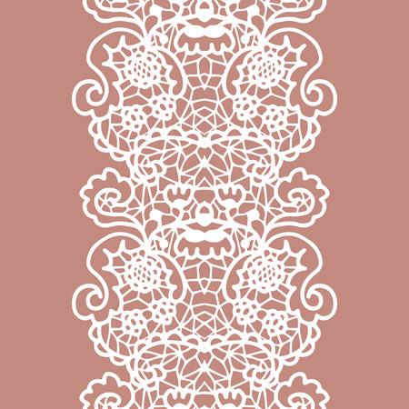 trim: White lacy vintage elegant trim. Vector illustration.