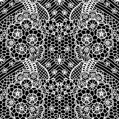 leaves pattern: White lacy seamless pattern with flowers on black background
