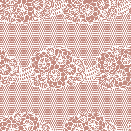 White lace seamless pattern with flowers on beige background Vector