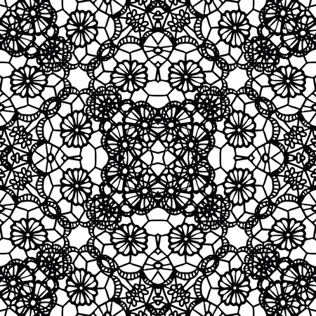 Lace black seamless mesh pattern. Vector illustration.
