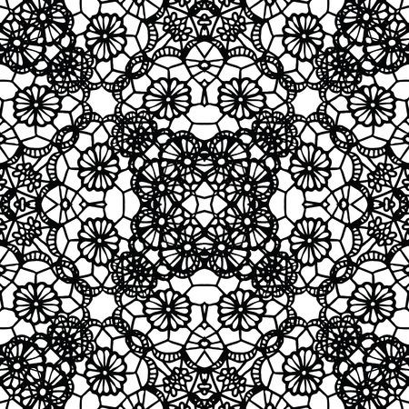 Lace black seamless mesh pattern. Vector illustration.