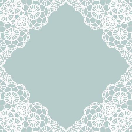Vector white lace vintage frame. Vector illustration.