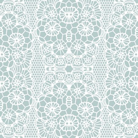 White lace seamless pattern with flowers on blue background Vector