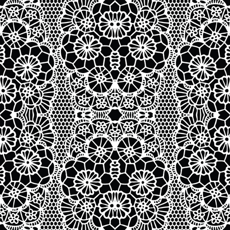 White lacy seamless pattern with flowers on black background Vector