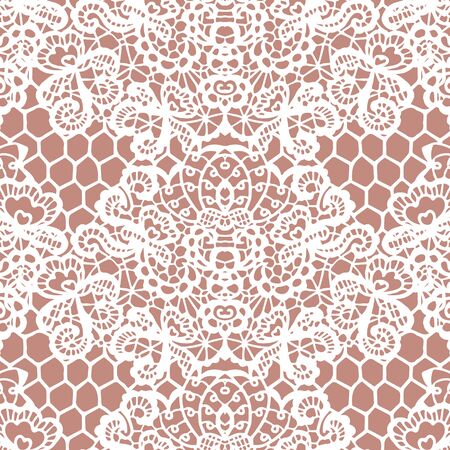paper texture background: White lace seamless pattern with flowers on beige background Illustration