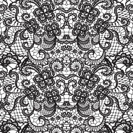 Koronki czarnego szwu z kwiatów na białym tle Ilustracje wektorowe