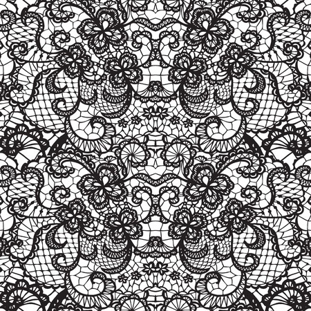 spouse: Lace black seamless pattern with flowers on white background