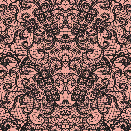 Lace black seamless pattern with flowers on brown background Vettoriali