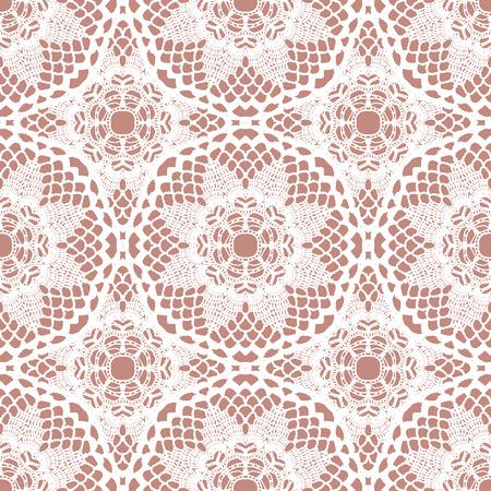 tissue texture: Lace white seamless mesh pattern. Vector illustration. Illustration