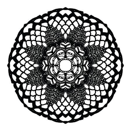 crochet: Black crochet doily. Vector illustration. May be used for digital scrapbooking.