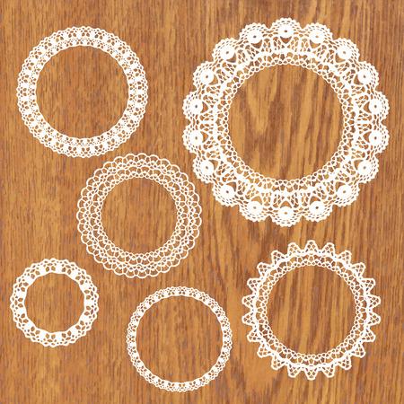 ovalo: Conjunto de marcos de encaje de ganchillo. Ilustración del vector. Gran colección. Vectores