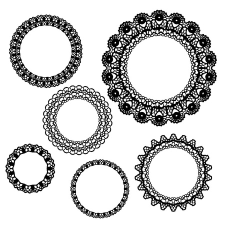crochet: Set of crochet lacy frames. Vector illustration. Big collection.