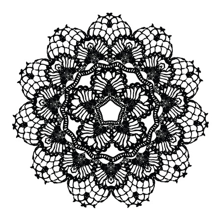 embroidery on fabric: Black crochet doily. Vector illustration. May be used for digital scrapbooking.