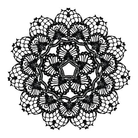 bordados: Pañito de ganchillo negro. Ilustración del vector. Puede ser utilizado para scrapbooking digital. Vectores