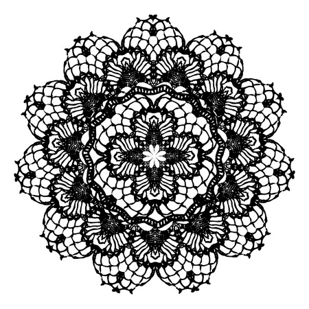 Black crochet doily. Vector illustration. May be used for digital scrapbooking.