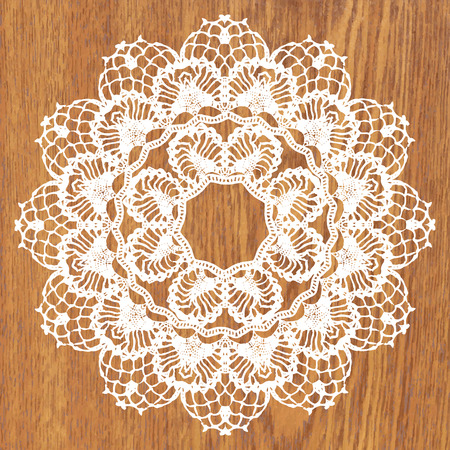 White crochet doily. Vector illustration. May be used for digital scrapbooking.