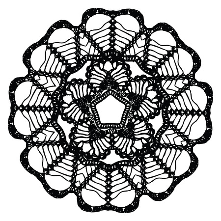 Black crochet doily. Vector illustration. May be used for digital scrapbooking. Vector