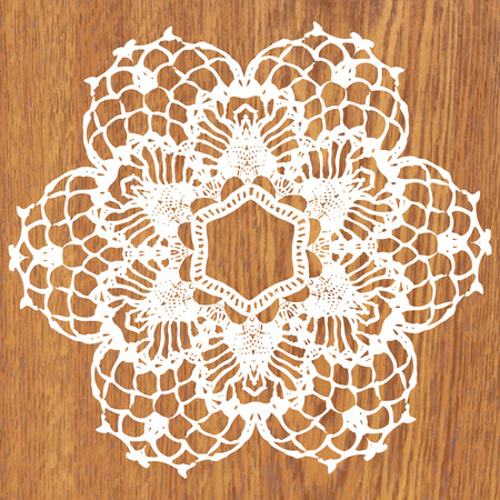 crochet: White crochet doily. Vector illustration. May be used for digital scrapbooking.