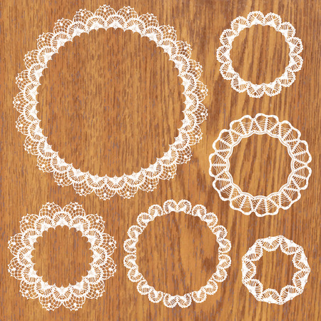 Set of crochet lacy frames. Vector illustration. Big collection.