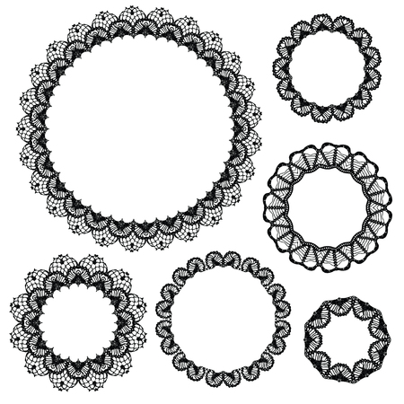 oval: Set of crochet lacy frames. Vector illustration. Big collection.