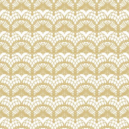 화이트와 골드 레이스 원활한 줄무늬 패턴. 벡터 일러스트 레이 션.