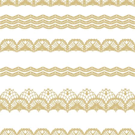 白とゴールド レース シームレスな縞模様。ベクトルの図。