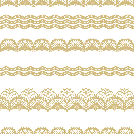 White and gold lace seamless stripes pattern. Vector illustration. Иллюстрация