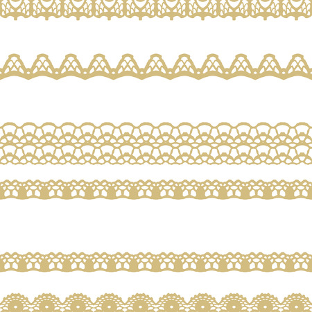 White and gold lace seamless stripes pattern. Vector illustration. Vettoriali