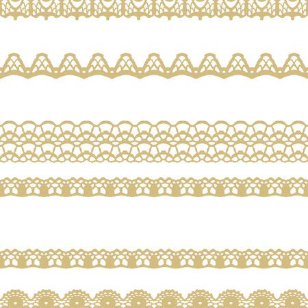 Patrón de rayas sin fisuras en blanco y encaje de oro. Ilustración del vector.