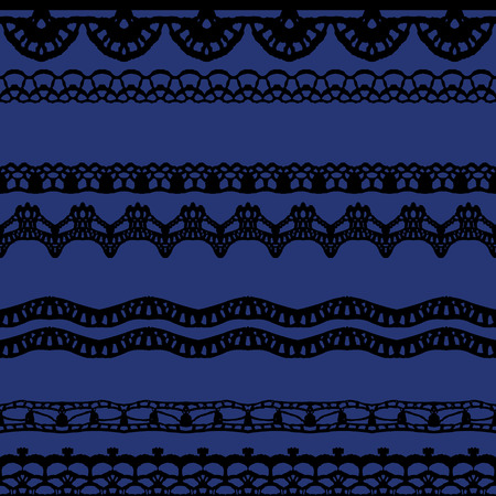 Black and blue lace seamless stripes pattern. Vector illustration. Vector