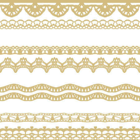 White and gold lace seamless stripes pattern. Vector illustration.