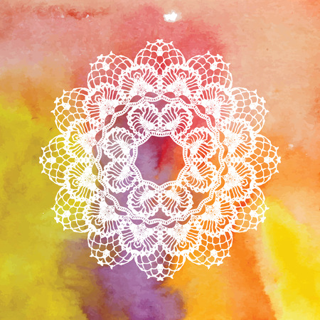 crochet: Elegant lacy doily. Crochet mandala. Vector template. Invitation card. May be used for digital scrapbooking.