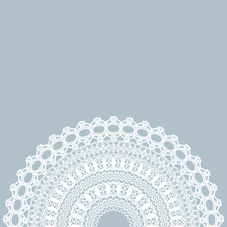 Vector white lace vintage frame. Vector illustration.