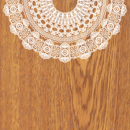 white wood: White crochet doily. Vector illustration. May be used for digital scrapbooking.