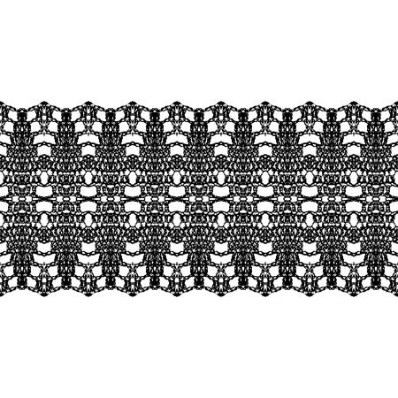 trims: Black lacy vintage elegant trims. Vector illustration.