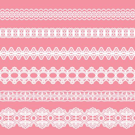 White lacy vintage elegant trims. Vector illustration. Illustration