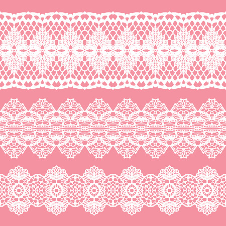 White lacy vintage elegant trims. Vector illustration. 일러스트