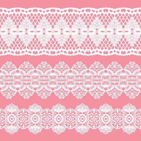 crochet: White lacy vintage elegant trims. Vector illustration. Illustration