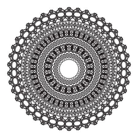 digital scrapbooking: Black crochet doily. Vector illustration. May be used for digital scrapbooking.