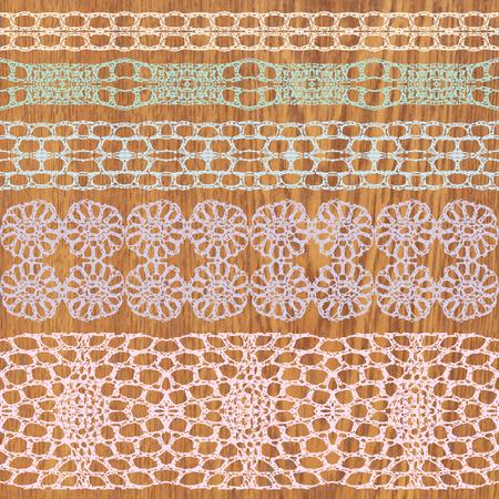 trims: Pastel lacy vintage elegant trims. Vector illustration.