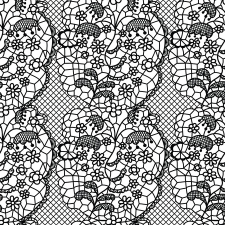 vector fabric: Black lace vector fabric seamless pattern with lines and flowers
