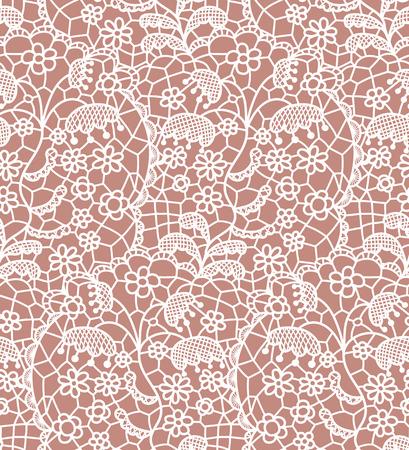 encaje: Encaje blanco sin patrón con flores sobre fondo beige Vectores