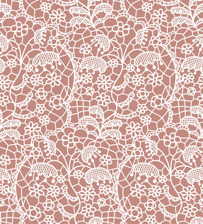 beige: White lace seamless pattern with flowers on beige background Illustration