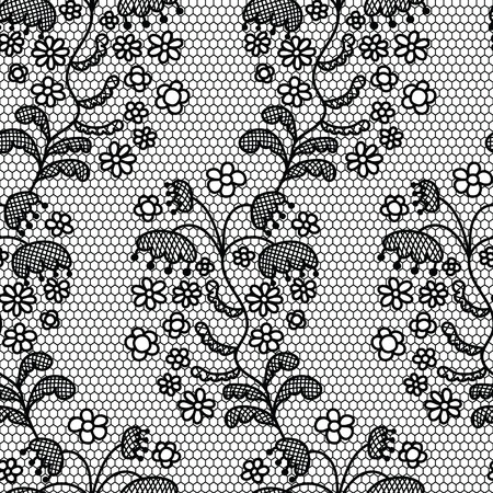 lacework: Black lace vector fabric seamless pattern with lines and flowers