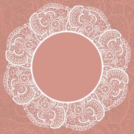 doily: Elegant doily on lace gentle background for scrapbooks Illustration