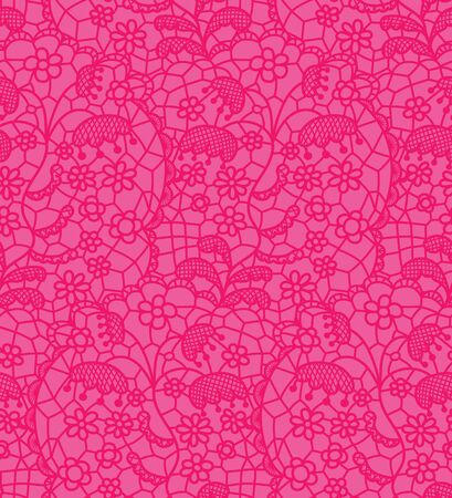 vector fabric: Pink lace vector fabric seamless pattern with lines and flowers