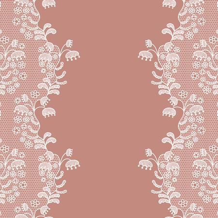 white trim: Seamless lace border. Vector illustration. White lacy vintage elegant trim.