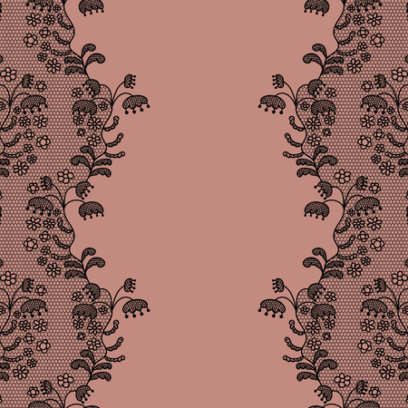 lace vector: Seamless lace border. Vector illustration. Lacy vintage elegant trim. Illustration
