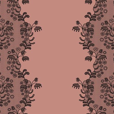 lace pattern: Seamless lace border. Vector illustration. Lacy vintage elegant trim. Illustration