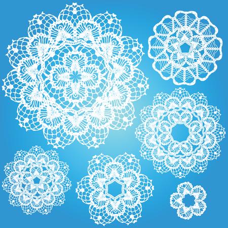encaje: Conjunto de blondas de los copos de nieve.
